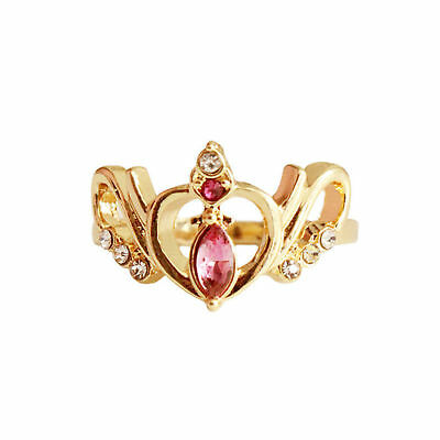 Anime Sailor Moon Crystal Crown Hollow Sweet Heart Ring Jewelry Süßer Herz Ringe