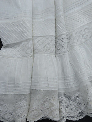 Antique Vtg Edwardian French Normandy Lace Petticoat Flounce Doll Dress 22X186