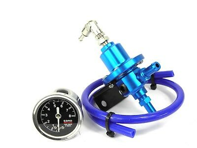 Blue Fuel Pressure Regulator kit Universal use on Petrol Turbo or injection car