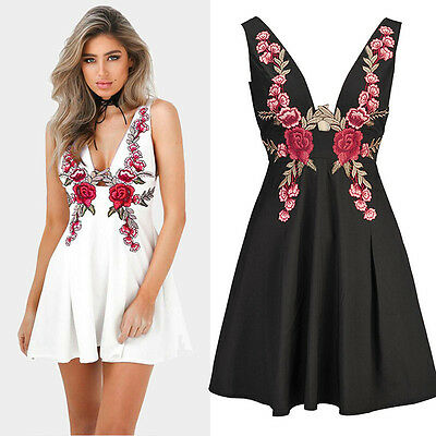 Womens Ladies Floral Rose Embroidered V Neck Sleeveless  Mini Skater Dress #06
