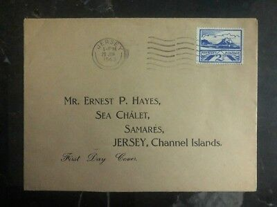 1943 Jersey Channel Islands Occupation First Day Cover FDC England Locally Used