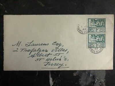 1943 Jersey Channel Islands Occupation Cover England To St Heliers Double