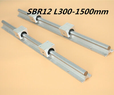 New 2X SBR12 L300-1500mm Shaft Rod Rail Set Linear Rail & 4X SBR12UU Bearing