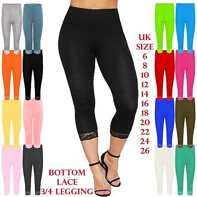 Womens Lace Trim Cotton Stretchy 3/4 Length Capri Jegging cropped Leggings Pants