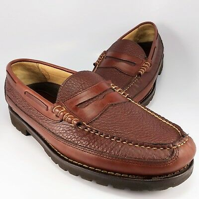 cfb901debb1 LL Bean Allagash Bison Penny Loafers Mens Size 11-EE Brown Textured  Moccasins