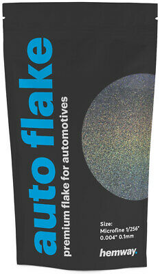 "Hemway Metal Flake Gun Metal Holographic 0.004"" MICROFINE 100g Glitter Paint"