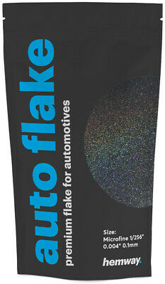 "Hemway Metal Flake Black Holographic 0.004"" MICROFINE 100g Auto Glitter Paint"