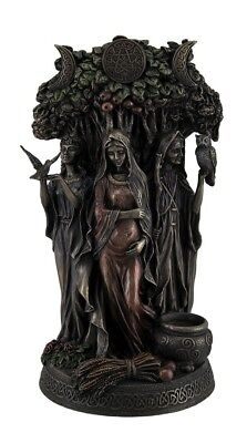 "New Celtic Triple Goddess Maiden Mother And The Crone Bronze 10"" Statue"