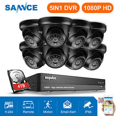 SANNCE Full 1080P 8CH/ 4CH DVR 5IN1 2MP Security Camera System Dome Night Vision