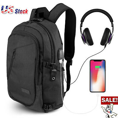 Anti-theft Mens Womens USB Charging Backpack Laptop Notebook Cozy School Bag