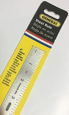 "NEW General Tools 676 6""/ 150MM Precision Rigid Stainless Steel Rule Ruler"