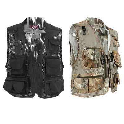 Men's Multi-Pocket Mesh Vest Waistcoat Fishing Travel Hiking Outdoor Sports