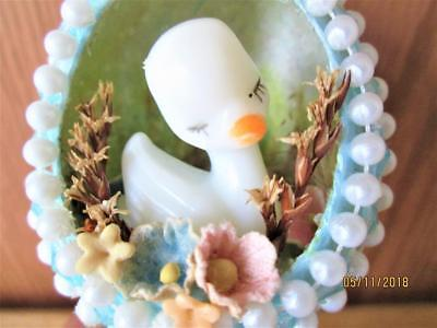 Beautiful Vintage Blue Mica Egg With Baby Swan Center On Gold Swan Base