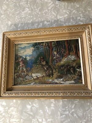 Antique Hunting Scene Pettipoint Dogs Wolf Framed By Fordham Glass Bronx NY