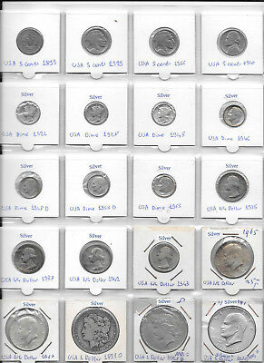 USA LOT OF 20 COINS 5 Cents - 1 Dollar 1891 -1976 Incl. Silver And Rare Coins Y6