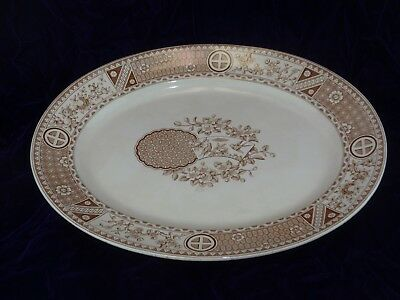 Bates, Gildea & Walker  Aesthetic Period SATSUMA Brown Transferware Platter 1879