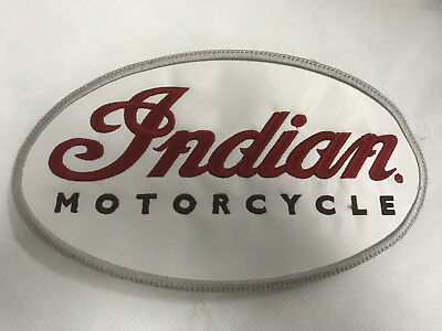 """Indian Motorcycle Red White Oval Script Badge Patch 9"""" X 5"""" Embroidered Chief"""