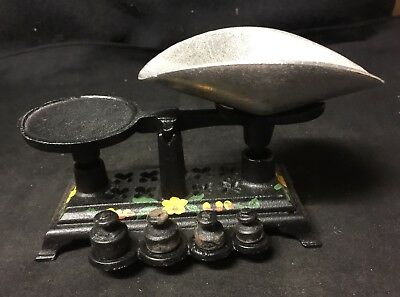 Vintage Cast Iron Miniature CANDY SCALE with weights COMPLETE