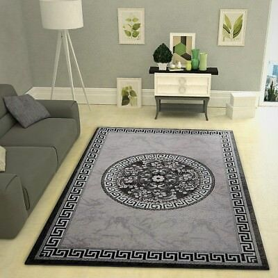 Grey Glitter Rug Black Border Pattern Modern Fl Living Room Oriental Carpet