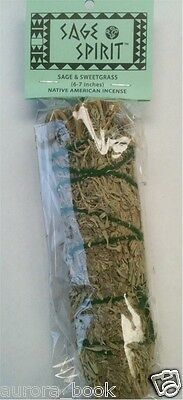 """Sage Spirit Smudge Wands Sage & Sweetgrass 7"""" Use for Smudging Ceremony WA26079"""