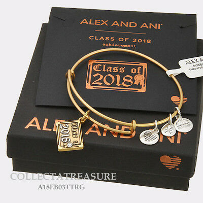 Authentic Alex and Ani Class of 2018 Rafaelian Gold Charm Bangle