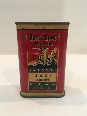 Vintage Here's Howe Imperial Brand Sage Spice Tin Rare