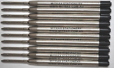 10 Black Mitrax brand ballpoint refills 0.7mm point compatible with Parker pens