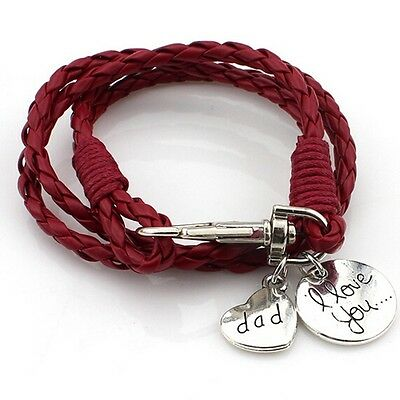 Dad bracelet Real Leather RED  Bracelet 'I Love You Dad' Dads Fathers day (M60)