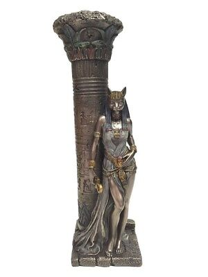 "NEW Egyptian Goddess Bastet Leaning On A Pillar 10"" Bronze Statue Candle Holder"