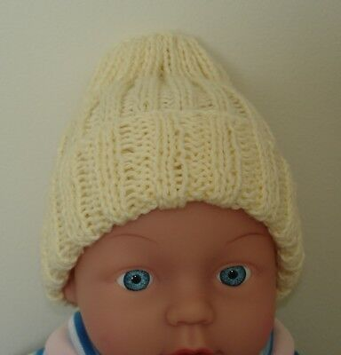 Cotton Hand Knitted Baby Beanie for Premmie Baby - No.3