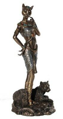 "NEW 11.75"" Egyptian Goddess Bastet w/ Panther Sculpture Ancient Egypt Statue"