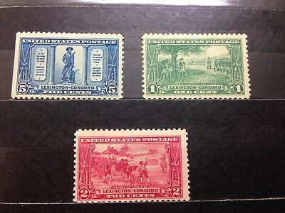 US Stamp - 1925 Lexington-Concord - 3 Stamp Set MINT PREVIOUSLY HINGED