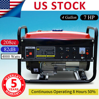 Portable Gas Generator 4000W Emergency Home Back Up Power Camping Tailgating