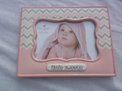 NAT JULES SWEET BABY LITTLE SWEETIE PINK ZIG ZAG PICTURE FRAME GIFT 8.25 x 6.5