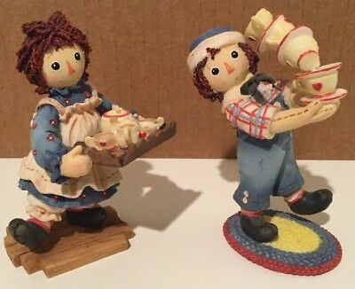 Raggedy Ann w/ Tea Tray & Raggedy Andy w/ Teacups Enesco Figurines Set Of 2