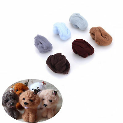 60g 6 colors Wool Fibre Roving For Needle Felting Hand Spinning DIY materialAB