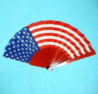 Red Rim America Flag Pattern Dancing Hand held Folding Fan New