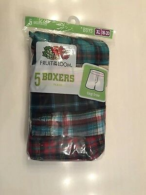 NWT Boy's Fruit Of The Loom (5) Boxer Shorts Size XL 18 - 20