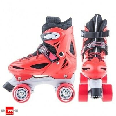 Adjustable Kids Roller Skates Shoes Quad Skates M Size - Red