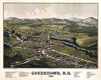 nh14 Antique old map NEW HAMPSHIRE genealogy family history GOFFSTOWN 1887