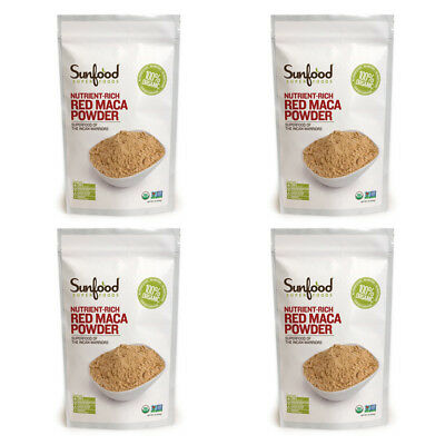 4X Sunfood Raw Red Maca Powder Nutrient Rich Energizing Vegan Daily Care Foods