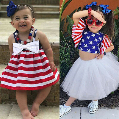 577875420bb5 Toddler Baby Girls Star 4th Of July Bowknot Straps Dress Striped Tutu  Clothes