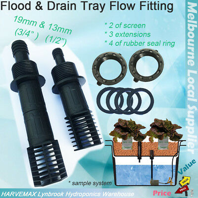 Hydroponics Flood & Drain Fitting Kit 13mm & 19mm Tub Outlet Screen Extension