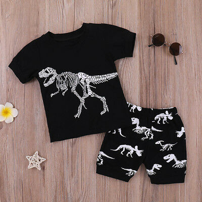 Toddler Kids Baby Boys Summer Cartoon Tops T-Shirt Shorts Pants Outfits Set