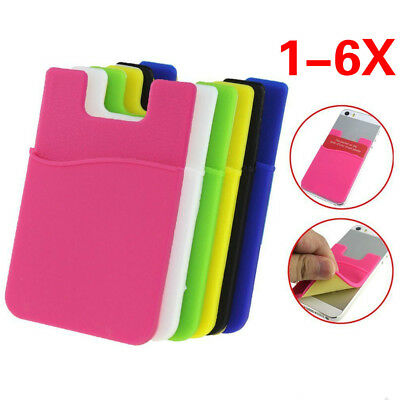 1-6X Adhesive Silicone Sticker Credit Card Pouch Back Cover Holder Case Phone