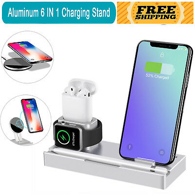 6 in1 Charging Dock Stand Charge Multi-function Station For Apple iWatch Airpods