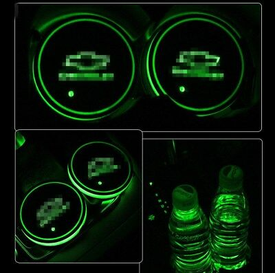1Pair Car Cup Holder for Chevrolet Colorful Led Light Pad Auto Atmosphere Lights