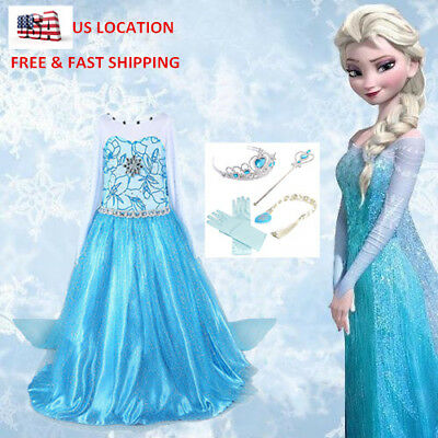 New Girl Frozen Elsa Anna Dresses Crown Costumes Party Dress Fancy Cosplay 2018