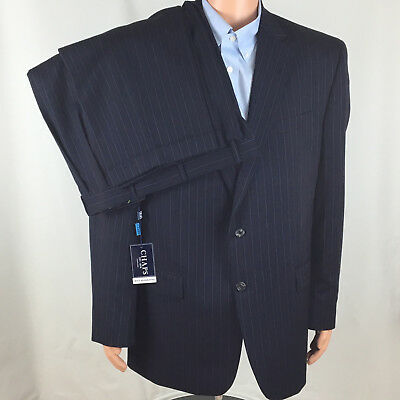 NWT NEW CHAPS Navy Pinstripe Men's Executive Power Suit 46 L100% Wool 2 Buttons