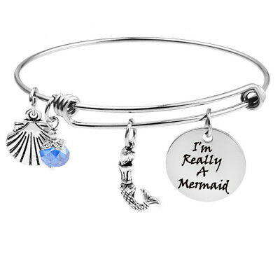 "BO Stainless Steel Burn ""I reallly A Mermaid"" Mermaid Pendant Bracelet"